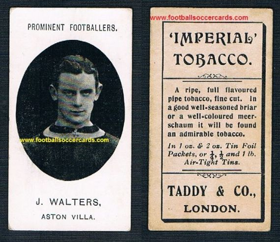 1907 Taddy Prominent Footballers Aston Villa J Walters Imperial tobacco card
